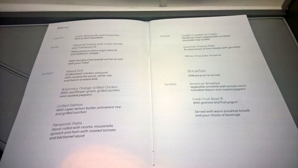 American Airlines Business Class Menu