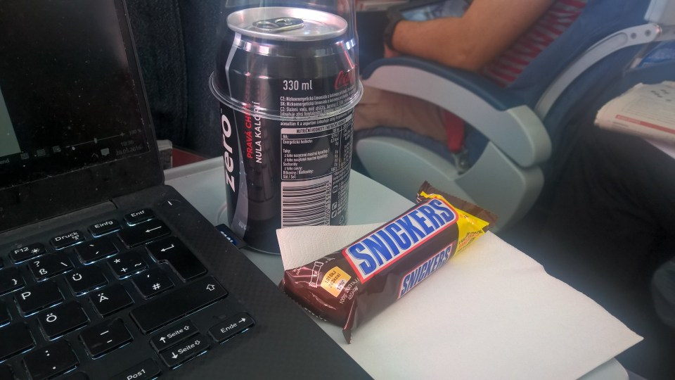 Coke and Snickers as a buy-on-board option