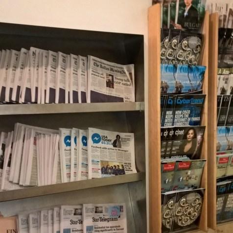 AA Admirals Club DFW Newspapers