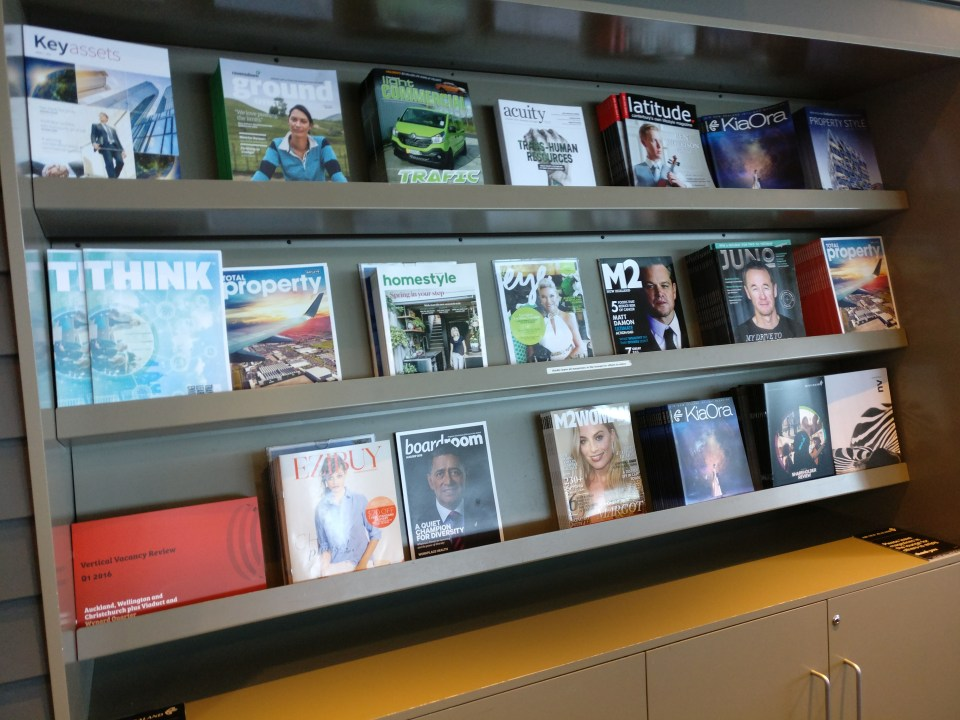 Air New Zealand Domestic Lounge Wellington Magazines
