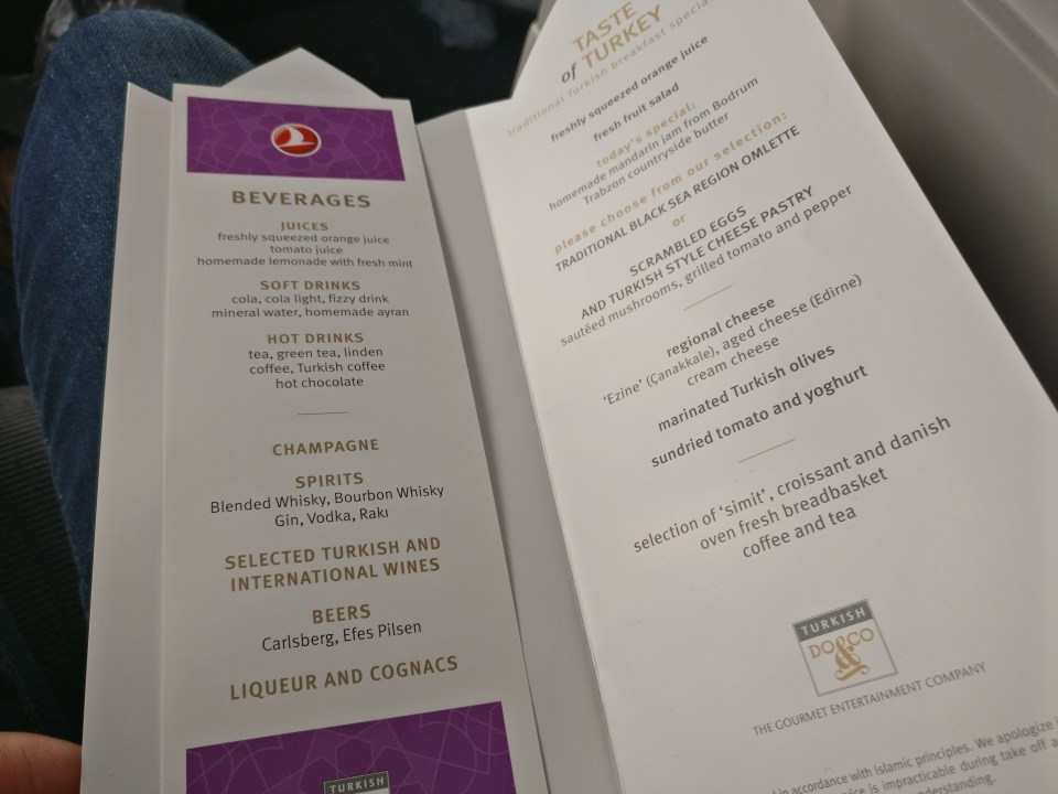 Turkish Airlines Business Class Boeing 777 Menu