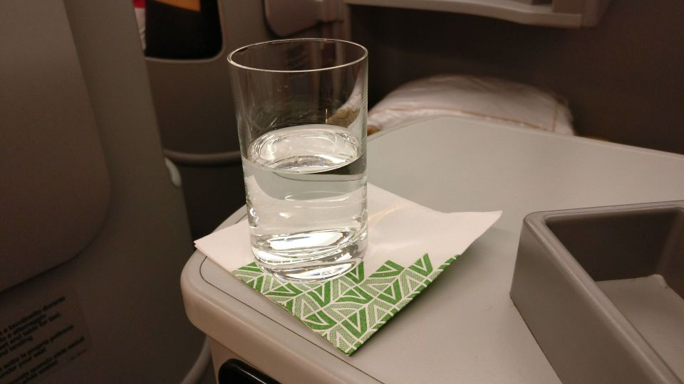 Alitalia Business Class Airbus A330 Welcome Drink