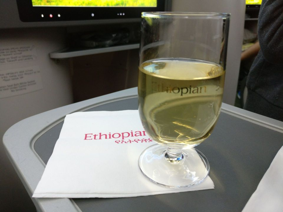 Ethiopian Airlines Business Class Boeing 787 Welcome Drink