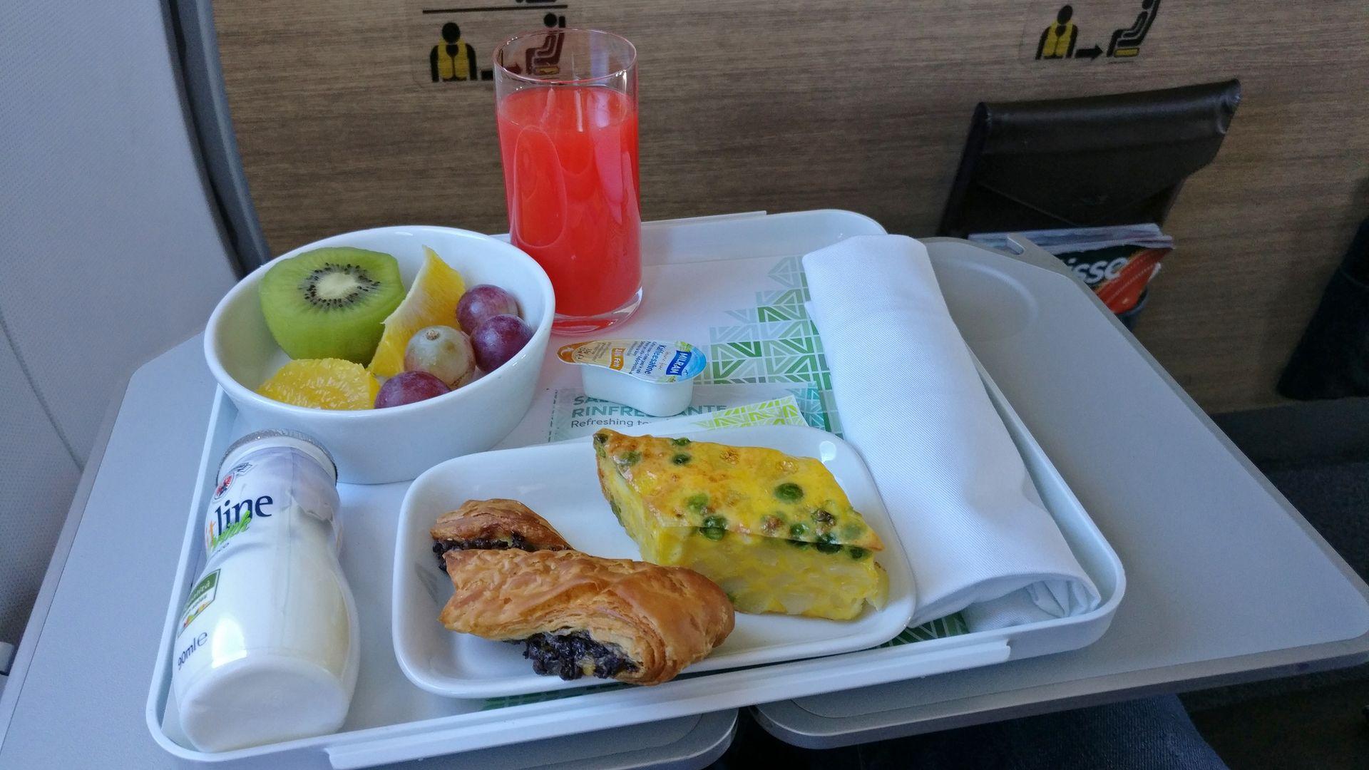 Alitalia Business Class Airbus A320 Breakfast