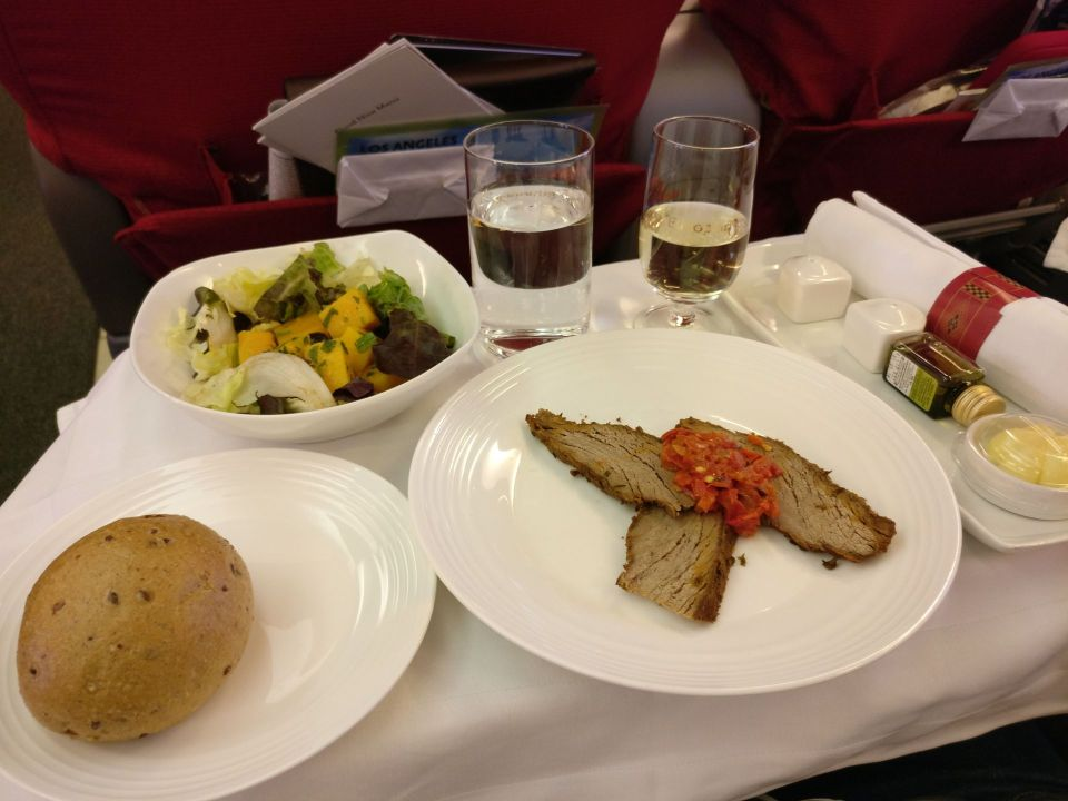 Ethiopian Airlines Business Class Boeing 737 Dinner
