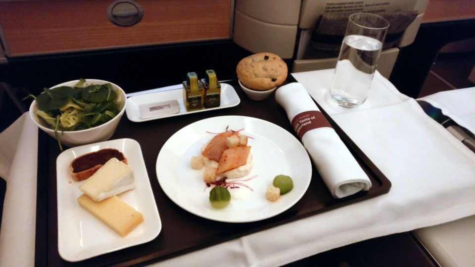 Swiss Business Class Boeing 777 Dinner