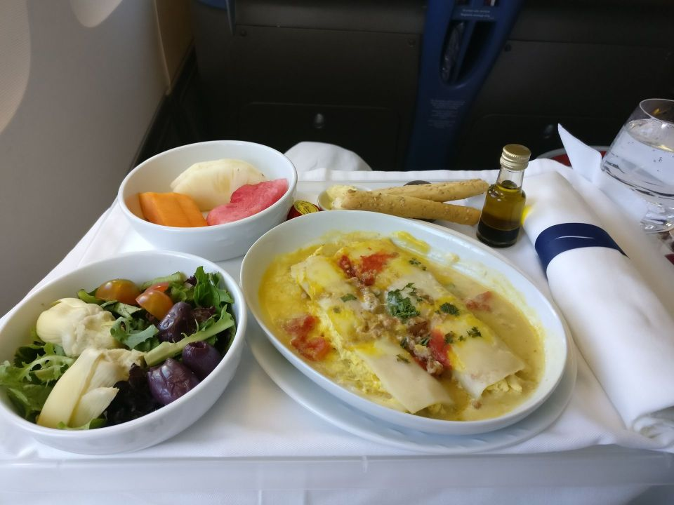 LATAM Business Class Boeing 767 Lunch