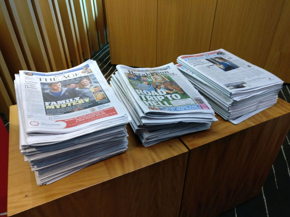 Qantas Business Lounge Melbourne Newspapers