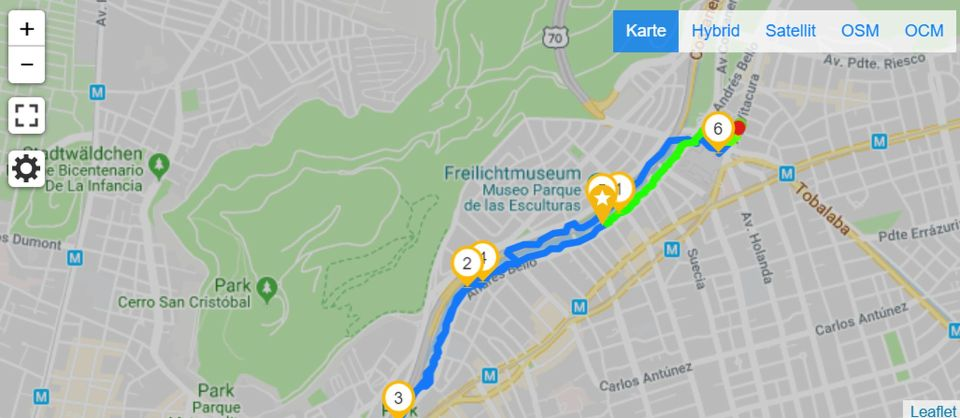 Map of Running in Santiago de Chile