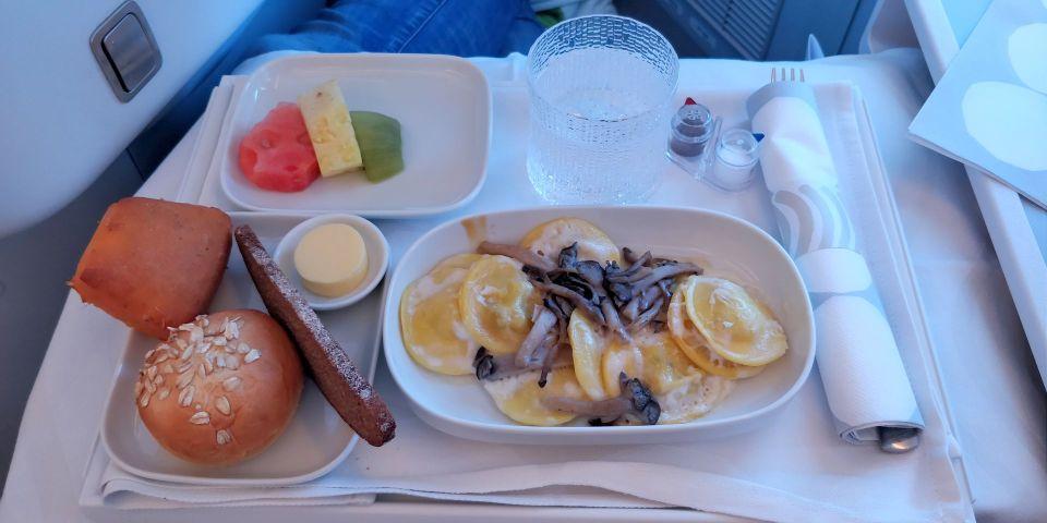 finnair business class airbus a350 lunch