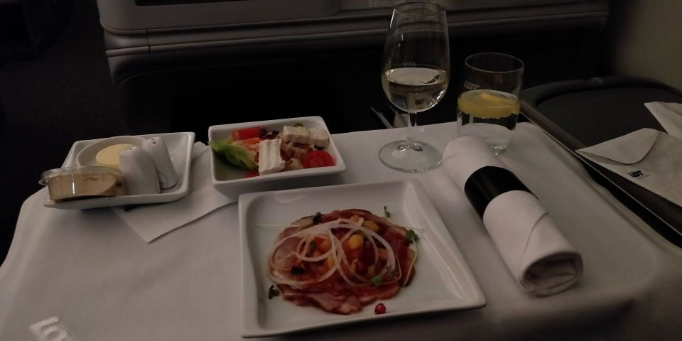 LOT long haul Business Class Lunch