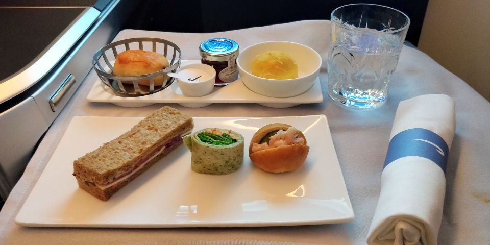 British Airways Business Class Airbus A350 Afternoon Tea