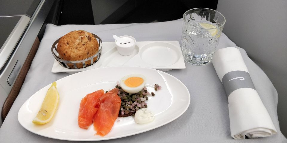 British Airways Business Class Airbus A350 Lunch