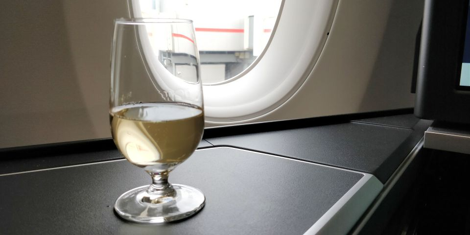 British Airways Business Class Airbus A350 Welcome Drink