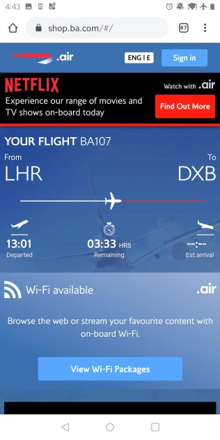 British Airways Business Class Airbus A350 Internet