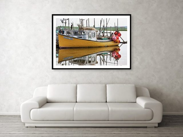 Dolores Ann the old fishing boat in Nova Scotia Wall Print Art by Tatiana Travelways