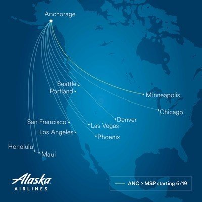 Alaska Airlines adds new nonstop flight from Anchorage to Minneapolis-St. Paul