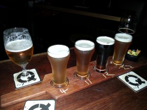 Craft beer tasting paddle from Quarryman's Pub