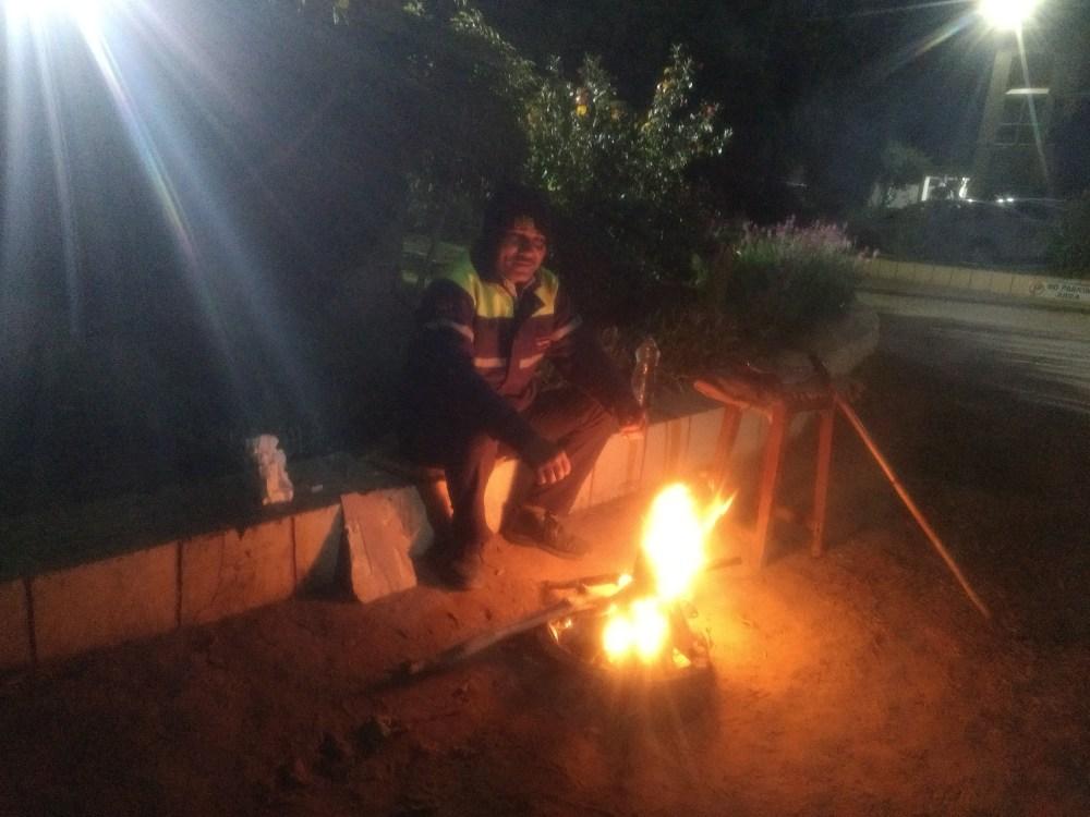 Bonfire lit by Chowkidar (Security Guard) at V fast hostel, BITS, Pilani,, India