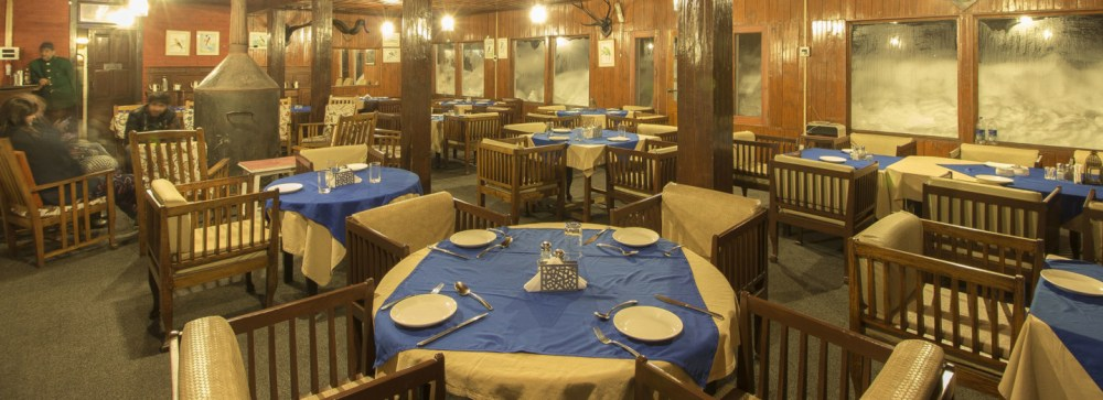 Dining Room, Nedou's Hotel, Gulmarg, Kashmir, India