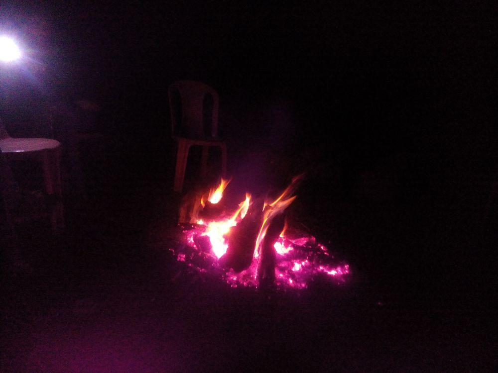 Bonfire at Riverview Guest House, Pahalgam, Kashmir, India