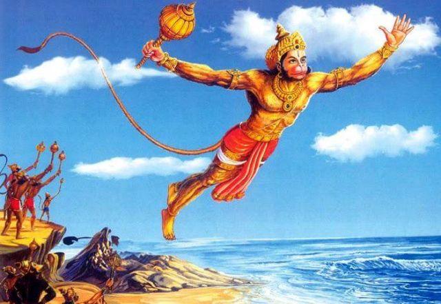 Hanuman flying, Ramayana
