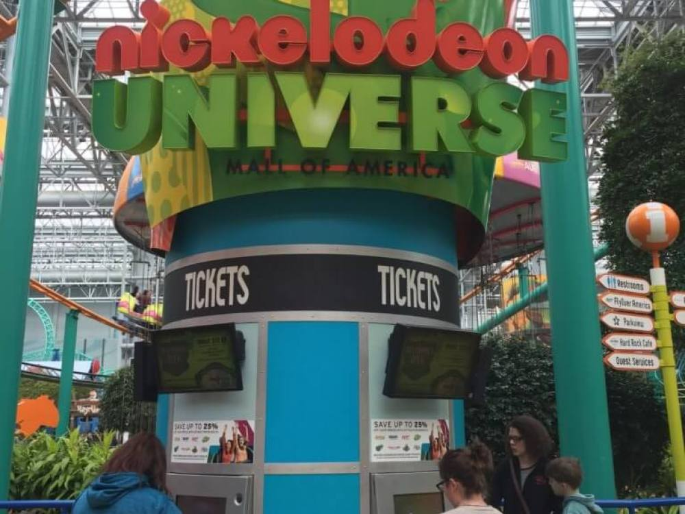 ticketing kiosk | Nickelodeon Universe Theme Park: Everything You Need to Know by popular family travel blog, Travel with a Plan: image of Nickelodeon Universe theme park ticketing kiosk.