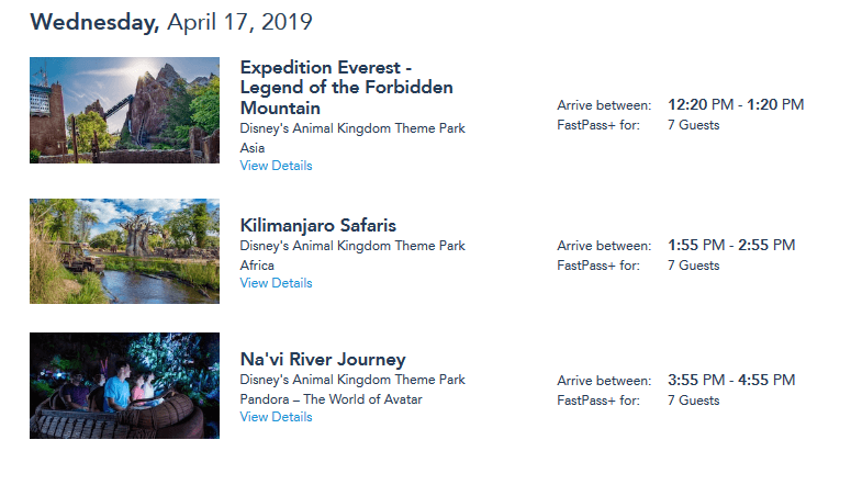 Things to know about planning your first Disney World Vacation, featured by top US family travel blog, Travel With a Plan: Screenshot of Animal Kingdom 30-day FastPasses+