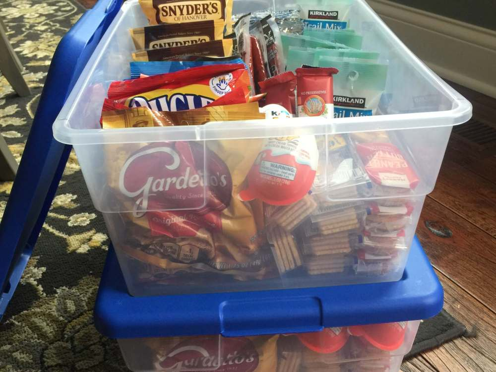 Family road trip tips featured by top US family travel blog, Travel with a Plan: image of Road Trip snack bins