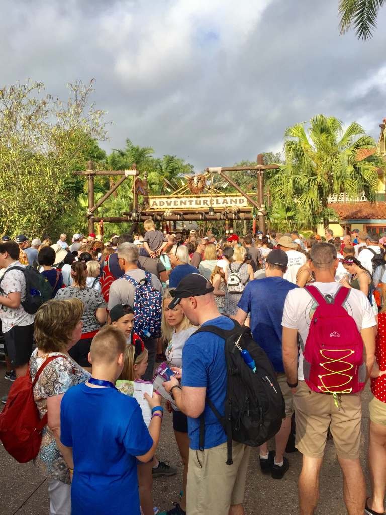 Top US Travel Blog, Travel With A Plan, features Magic Kingdom Disney tips! This is Adventureland Rope Drop!
