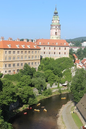 Climb up the tower of the castle in Cesky Krumlov for gorgeous views