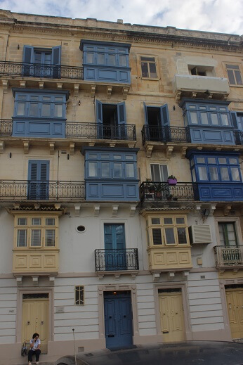 Traditional balconies in Valletta