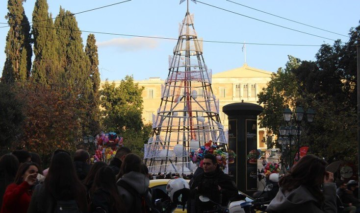 Syntagma Square in December, Athens, Greece