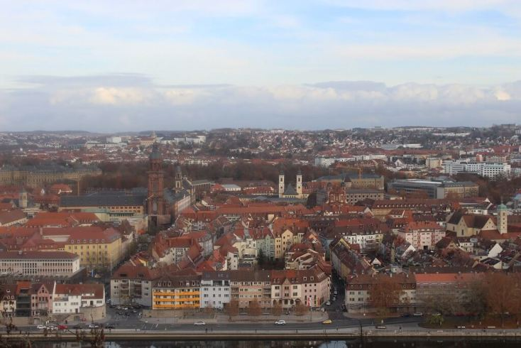View over Wurzburg from Marienberg fortress