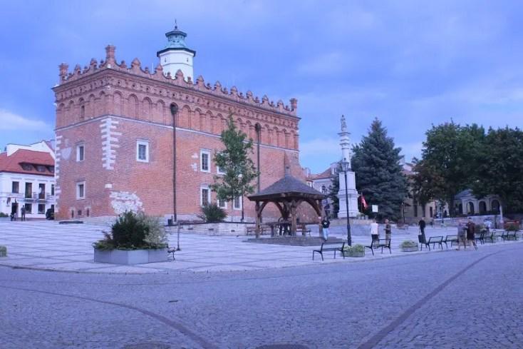Market square of Sandomierz in Poland - City Hall