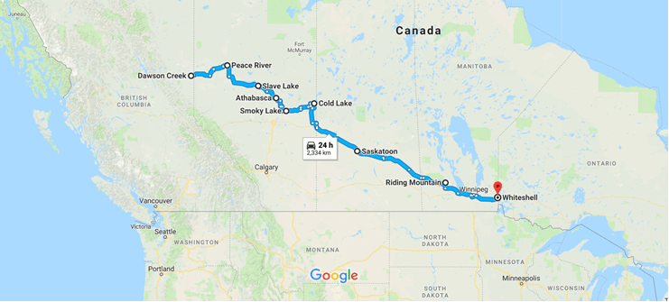 Dawson Creek to Whiteshell