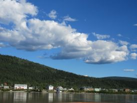 Yukon River ferry to Dawson