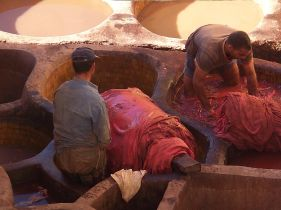 ancient leather tanneries in Fes