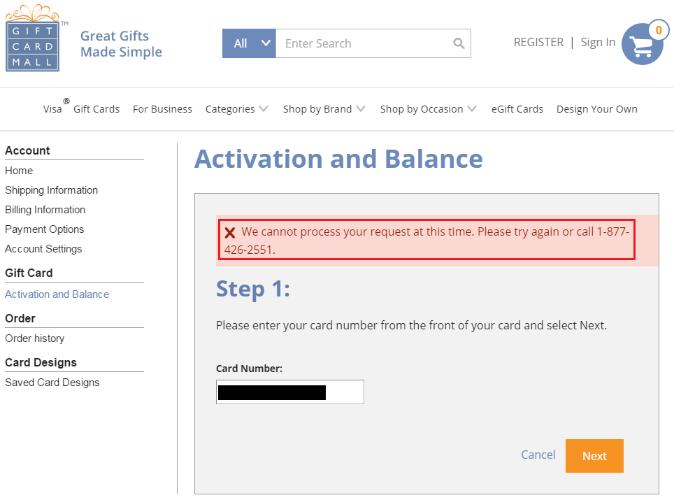 The gift cards don't need to be activated once they're purchased. Gift Card Mall Activation Website Down, Must Call 1-877-426-2551 to Activate VGCs