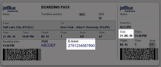 Sample ticket image from the JetBlue CFDI website