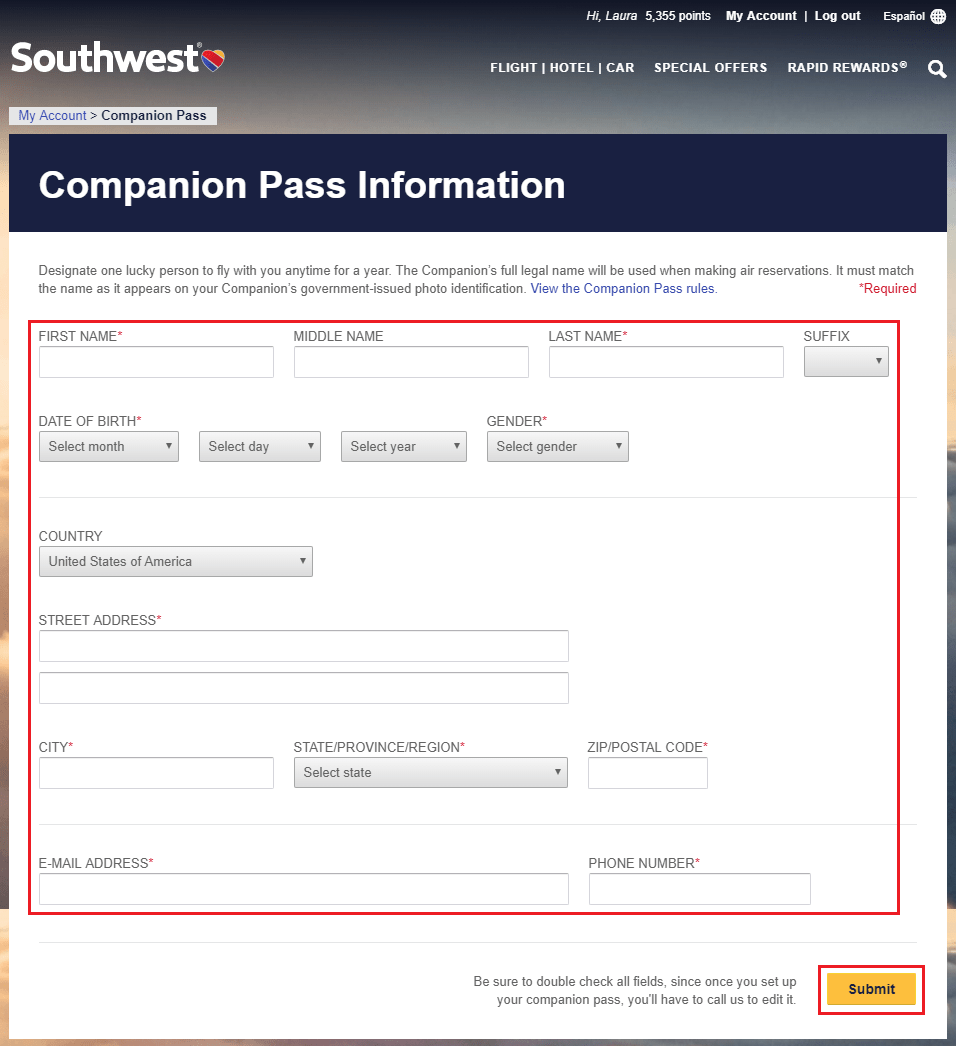 South West Airline Reservation Official