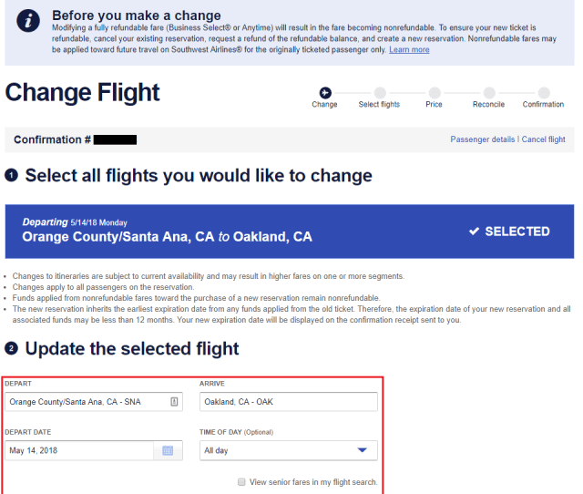 If You Want To Change To A Different Flight Change The Search Criteria And Click The Select New Flights Button