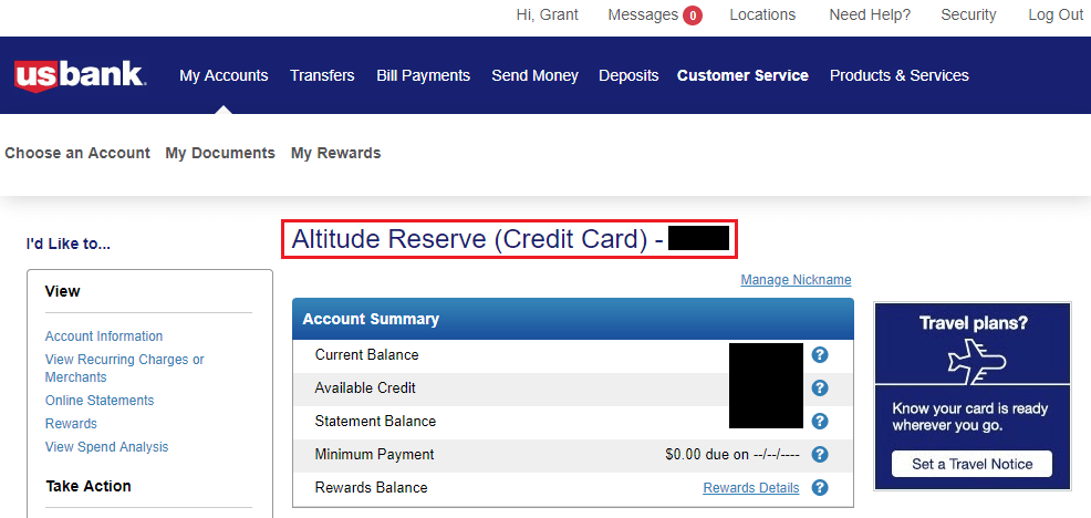 Us Bank Altitude Reserve Online Account Nickname Added Travel With Grant