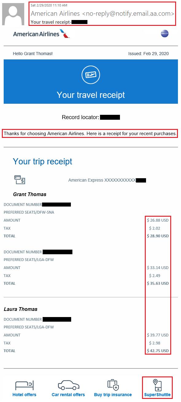 American Airlines Receipt : american, airlines, receipt, American, Airlines, Upgrade, Receipt, 2-29-2020, Travel, Grant
