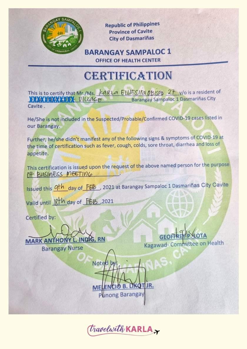 Barangay Health Certificate