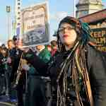 Zombies and protesters clash on Brighton seafront
