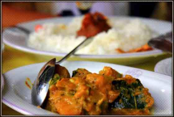 Sri Lankan street food, rice and curry