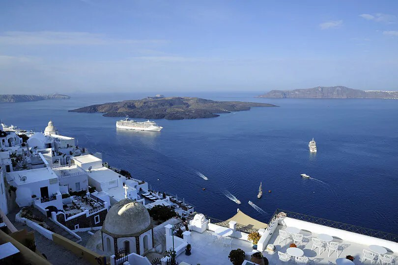 View of the Burnt Islands from Fira, Santorini