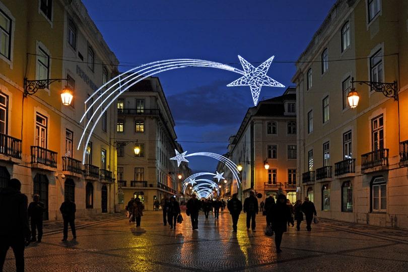The Christmas lights along Rua Augusta, Lisbon, Portugal