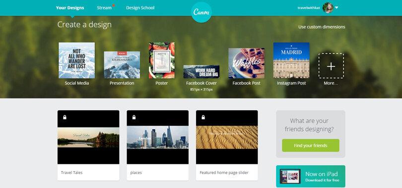 Using Canva oin travel blog website design